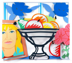 Still Life with Fruit, Petunias and Claire (3-D)